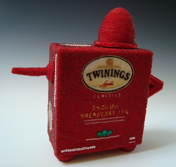 Twinings Tea Pot and Tea Bag Linda Dolack Glass Beads Sculpture Mixed Media Art