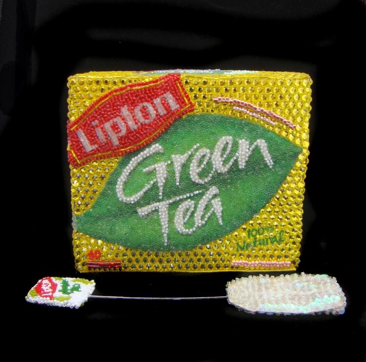 Lipton with Tea Bag Linda Dolack Glass Beads Swarovski Rhinestones Sculpture Mixed Media Art