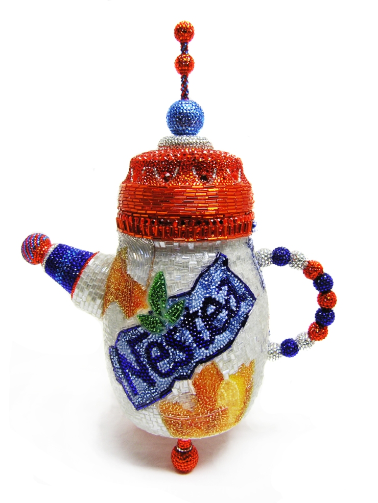 Nestea Tea Pot Linda Dolack Glass Beads Swarovski rhinestones Sculpture Mixed Media Art