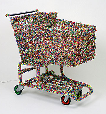 Mobile Shrine Linda Dolack Large Sculpture Beaded Mixed Media Grocery Cart
