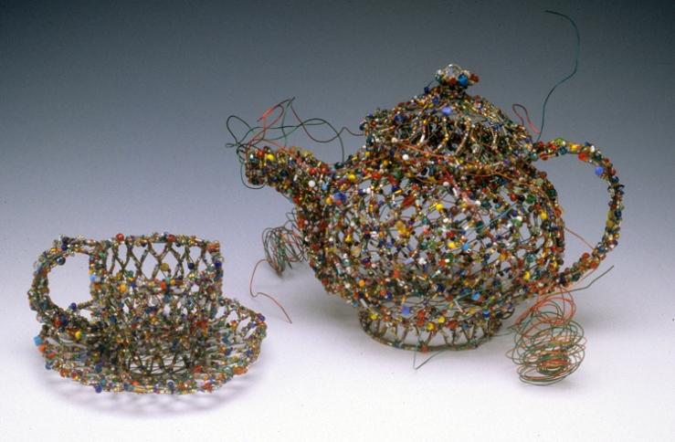 Conversation Linda Dolack Wire and Glass Beads Sculpture Mixed Media Art Kamm Teapot Foundation Statesville North Carolina