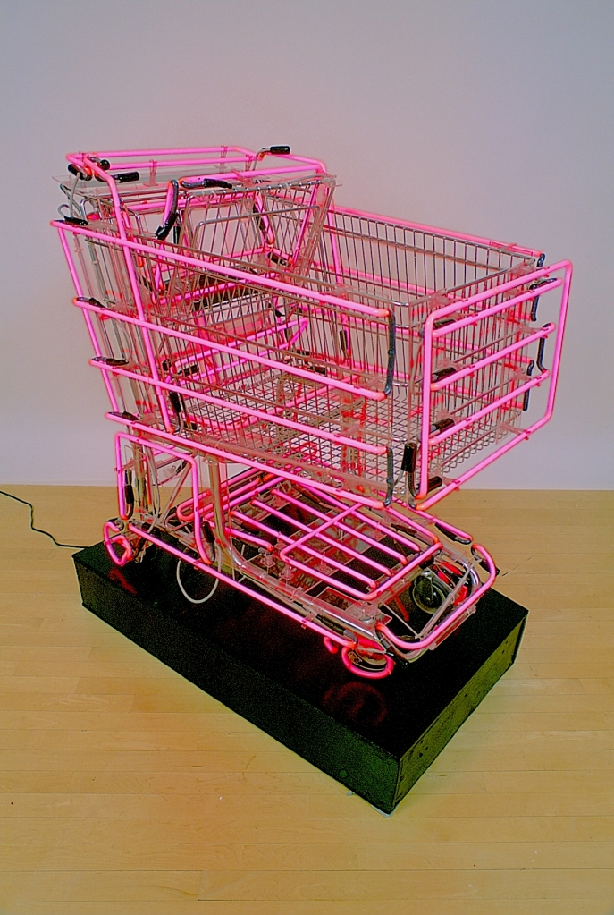 Hot Rod Linda Dolack Large Sculpture Neon Grocery Cart