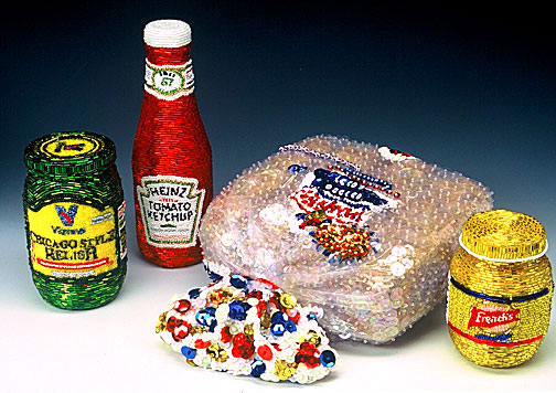 All American Food Vienna Relish Heinz Ketchup Wonder Hot Dog Buns French's Mustard Linda Dolack Food Sculpture Glass Beads Hand Sewn Mixed Media Art