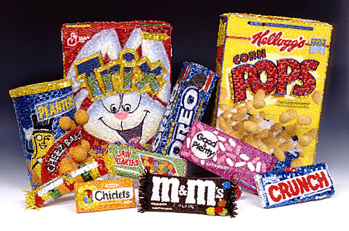 Planters Cheez Balls Trix Cereal Oreo Cookies Kellogg's Corn Pops Oreo Cookies Jaw Breakers Lifesavers Chiclets M&Ms Nestle's Crunch Good & Plenty Linda Dolack Assorted Sweets Food Sculpture Glass Beads Hand Sewn Mixed Media Art