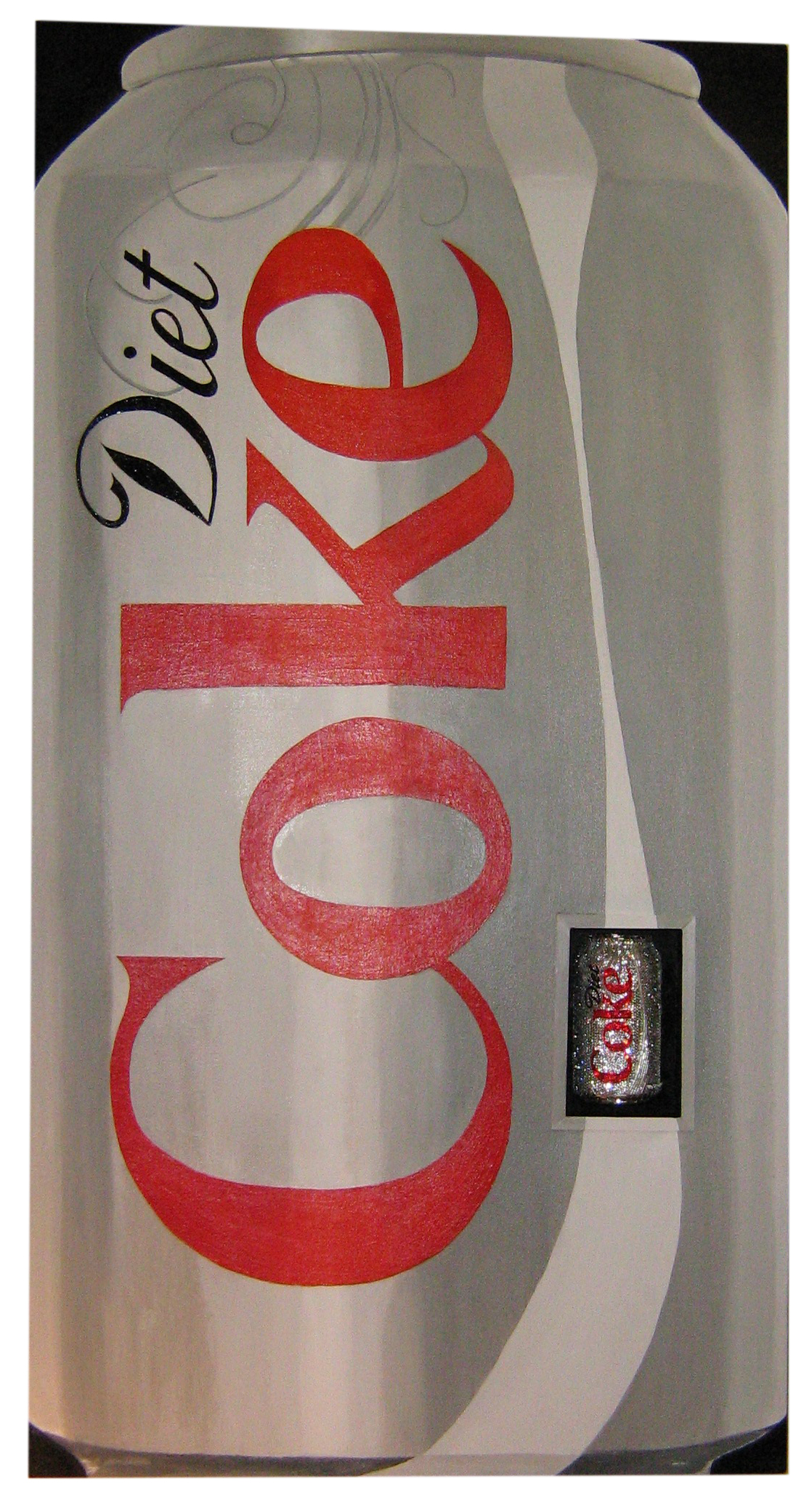 Linda Dolack Diet Coke Reliquary Acrylic painting with inset beaded and rhinestoned aluminum can mixed media. © 2007 Diet Coke.