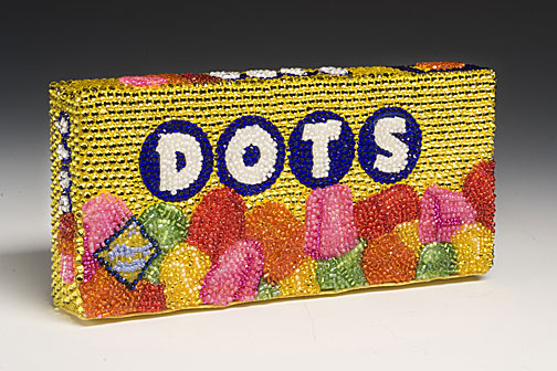 DOTS Linda Dolack Food Sculpture Glass Beads Swarovski Rhinestones Hand Applied Mixed Media Art