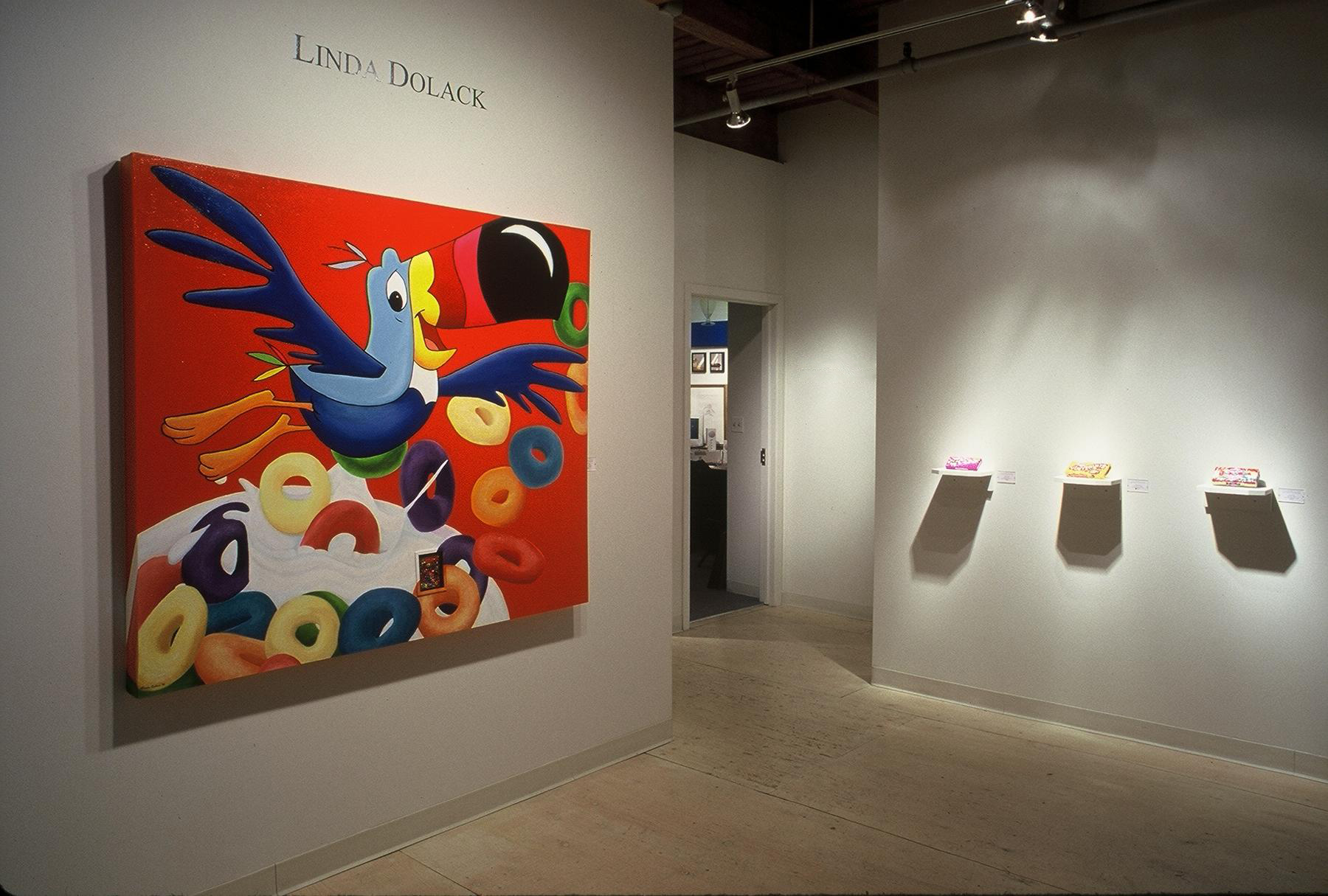 Linda Dolack Froot Loops Reliquary Acrylic painting, inset glass beaded object, mixed media. Lyons-Wier Gallery, Chicago, IL.