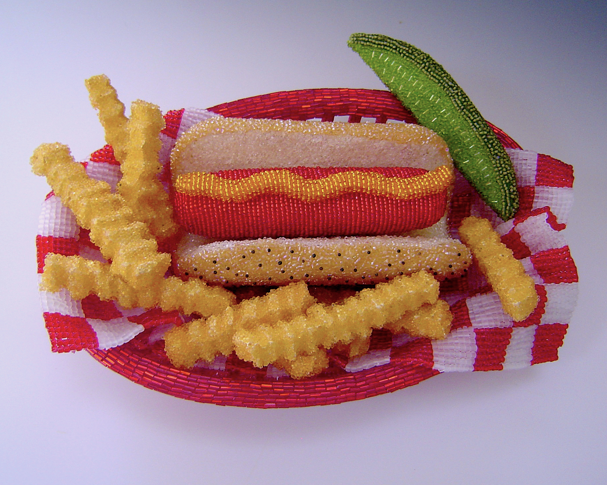 Hot Dog Basket Linda Dolack Food Sculpture Glass Beads Hand Applied Mixed Media Art
