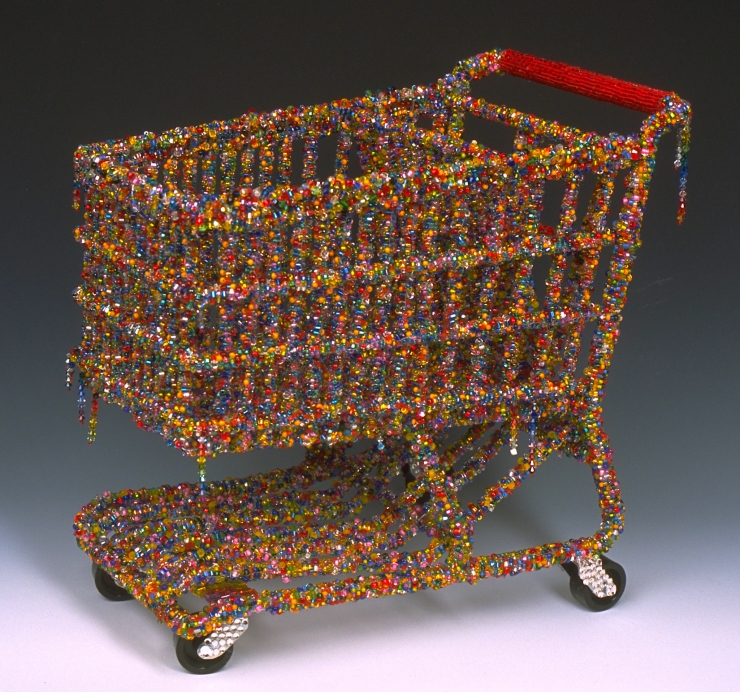 Miniature Cart Linda Dolack Sculpture Mixed Media Grocery Cart Created for Joan Borinstein Private Collection