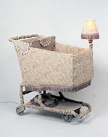 Mobile Home Linda Dolack Large Sculpture Upholstered Mixed Media Grocery Cart