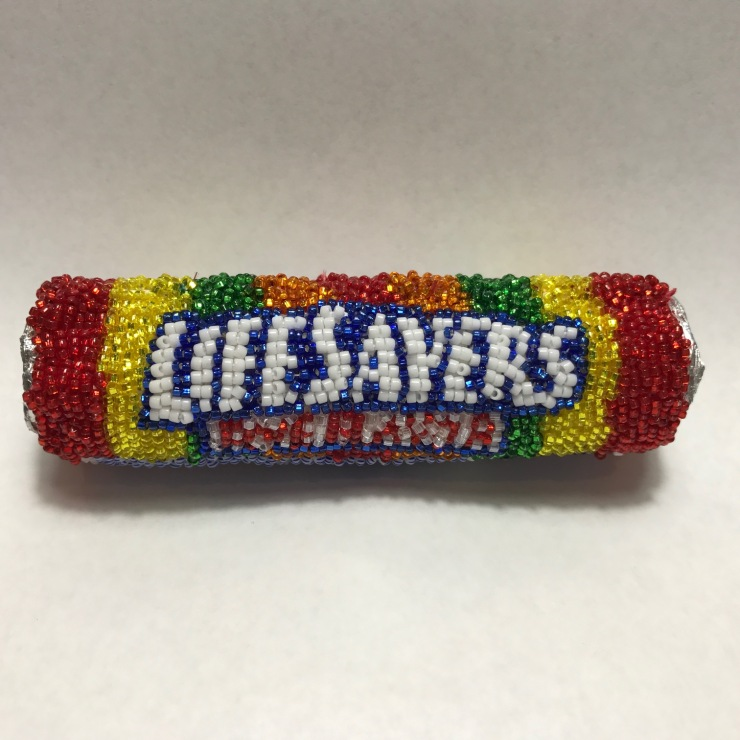 Lifesavers Linda Dolack Food Sculpture Glass Beads Hand Sewn Mixed Media Art