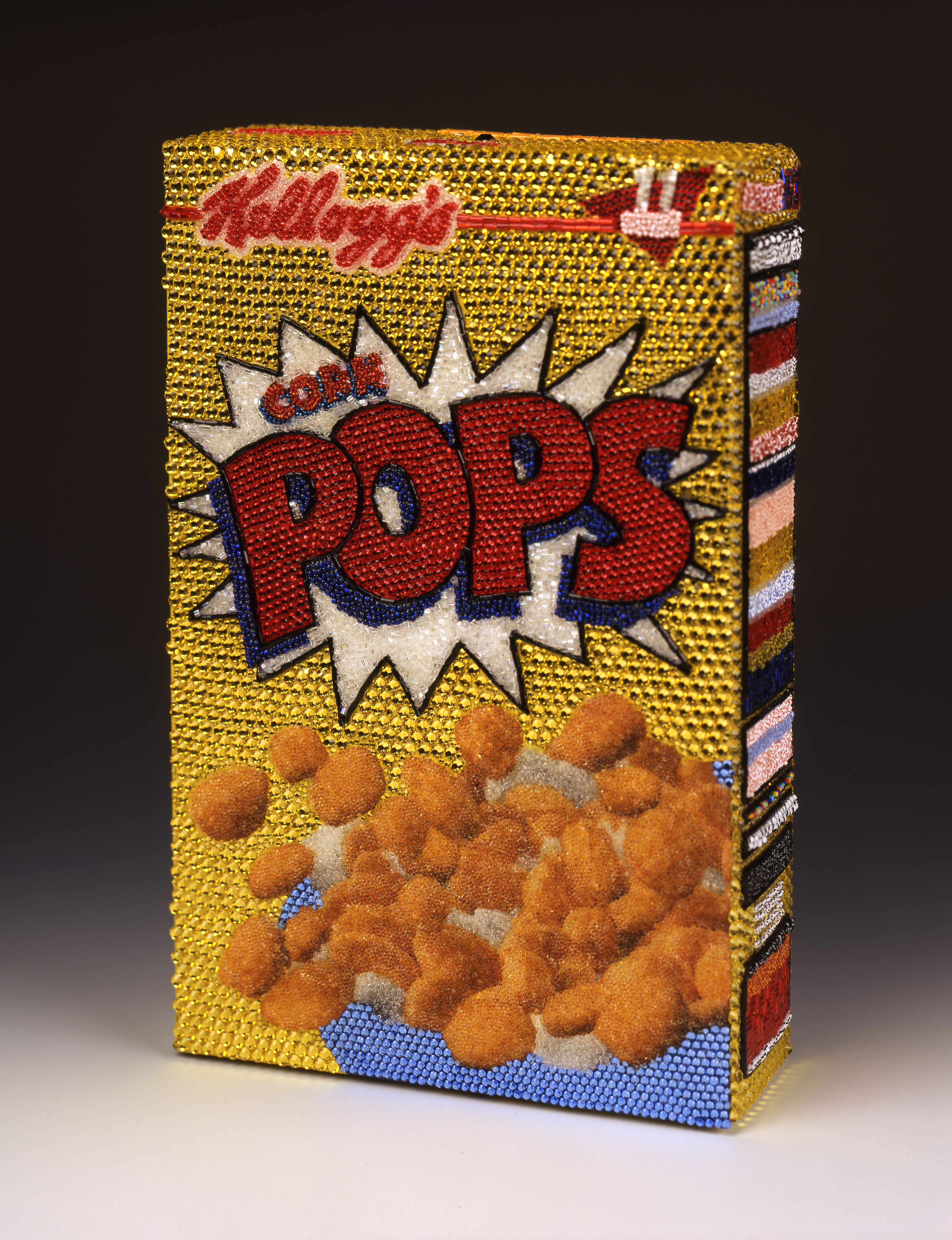 Kellogg's Corn Pops Cereal Linda Dolack Food Sculpture Glass Beads Swarovski Rhinestones Hand Applied Mixed Media Art