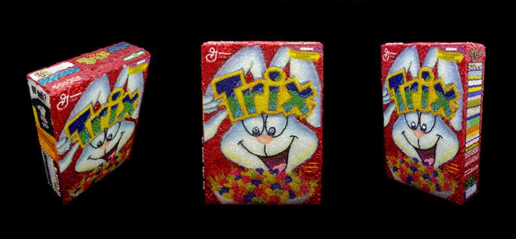 Trix Cereal Linda Dolack Food Sculpture Glass Beads Hand Sewn Mixed Media Art